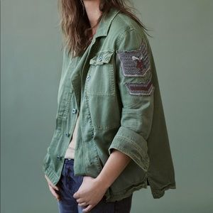 NWT Free People military army green shirt jacket S